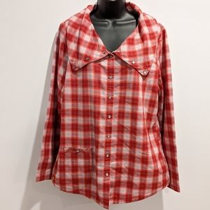 Lole plaid red plaid top sz 14